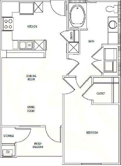 A1 - One Bedroom / One Bath - 680 Sq. Ft.*