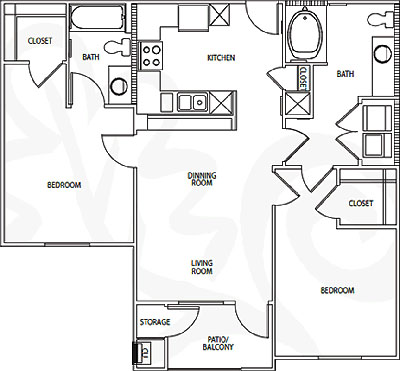 B1- Two Bedroom / Two Bath - 980 Sq. Ft.*