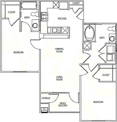 B5 - Two Bedroom / Two Bath - 980 Sq. Ft.*